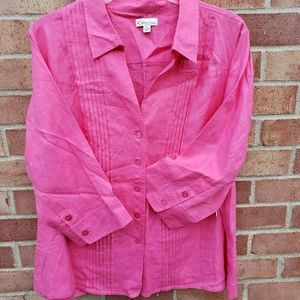NEW Kim Rogers Women's Plus 3X Pink Linen Top